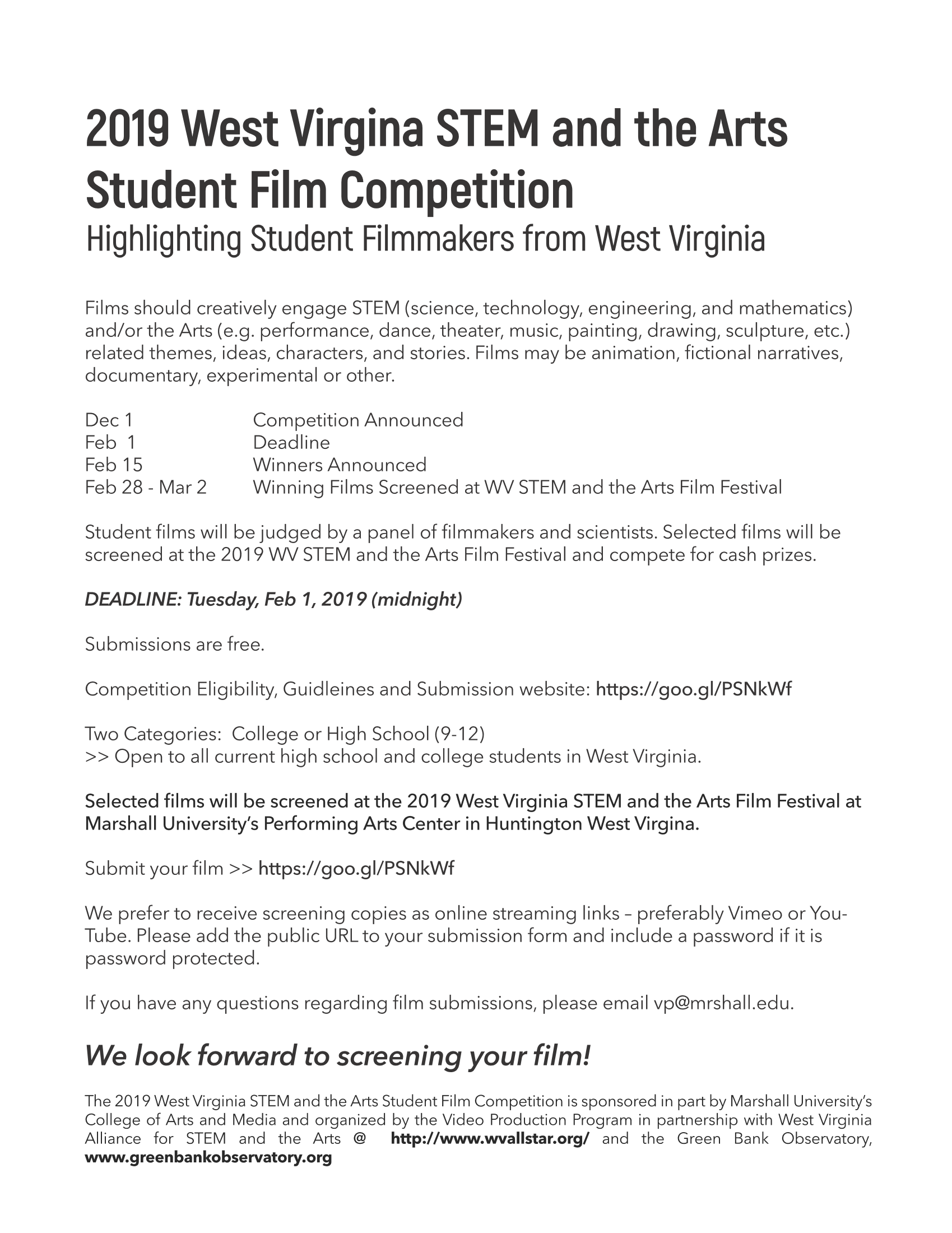 The 2019 WV STEM & the Arts Student Film Competition —— Now Open for